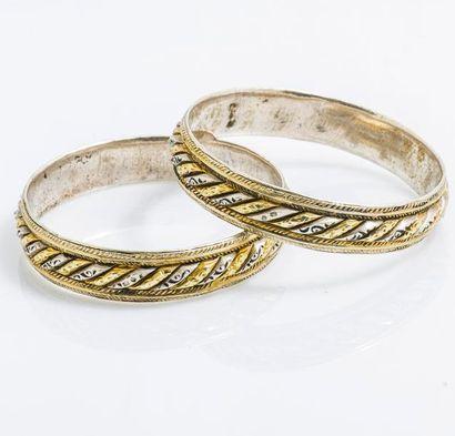Paire de bracelets joncs lune et soleil en...