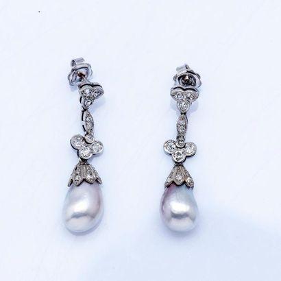 Paire de pendants d'oreilles en platine (950...