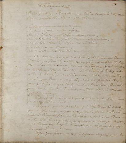 Copie manuscrite des Châtiments de Victor Hugo  Copie rédigée par un proche du poète,...