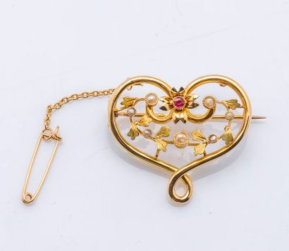 Broche cœur en or jaune 18 carats (750 millièmes)...