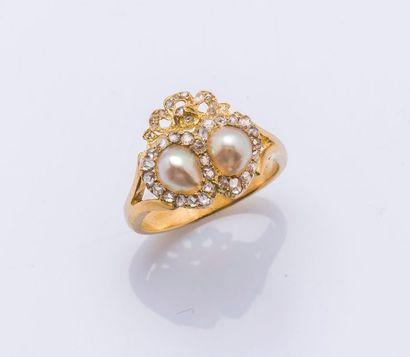 Bague en or jaune 18 carats (750 millièmes)...
