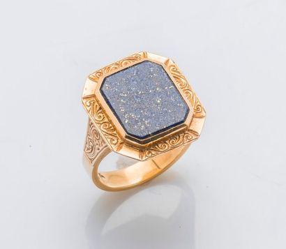 Bague en or jaune 14 carats (585 millièmes),...