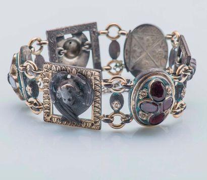 Bracelet articulé en argent (925 millièmes)...