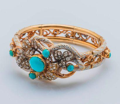 Bracelet jonc ouvrant articulé en or jaune...