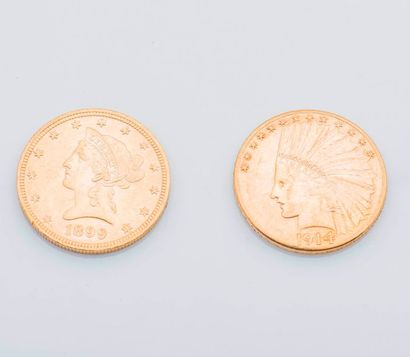 Deux pièces de 10 Dollars US or, 1899 et...