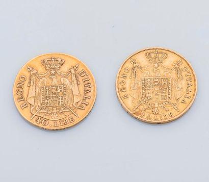 Deux pièces de 40 Lires or Royaume d'Italie,...