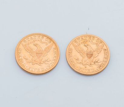Deux pièces de 5 Dollars US or, 1881 et 1892....