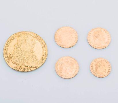Lot comprenant 3 pièces de 10 Francs or 1863,...