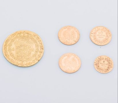Lot comprenant 3 pièces de 10 Francs or 1863, 1910 et 1906, 1 pièce de 5 Francs...