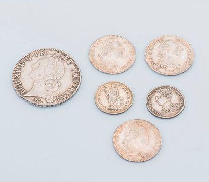 Lot comprenant 1 pièce 1 Franc argent Henri...