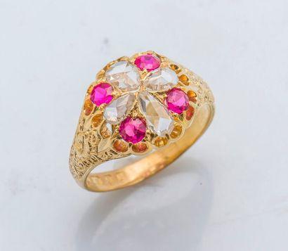 Bague en or jaune 18 carats (750 millièmes),...