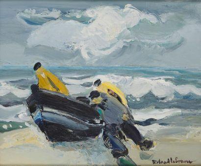 ROLAND LEFRANC (1931-2000) Retour de pêche...