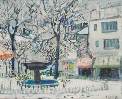 ROBERT SAVARY (1920-2000) Paris, la place...