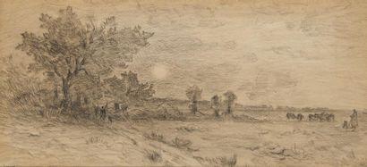 HENRI LE SIDANER (1862-1939) Paysage animé...
