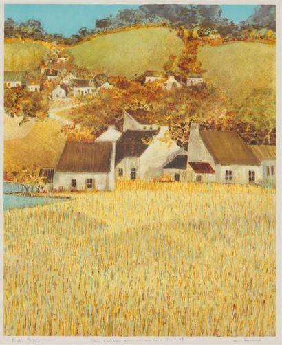 ANDRÉ BOURRIÉ (NÉ EN 1936) Hameau en coteau...