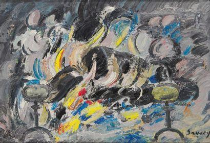 ROBERT SAVARY (1920-2000) Feu de bois Huile...