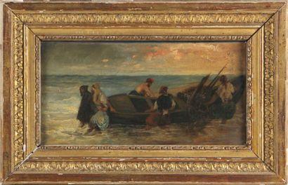 D'APRÈS EUGÈNE DELACROIX (1798-1863) Pirates grecs ramenant une barque au rivage...