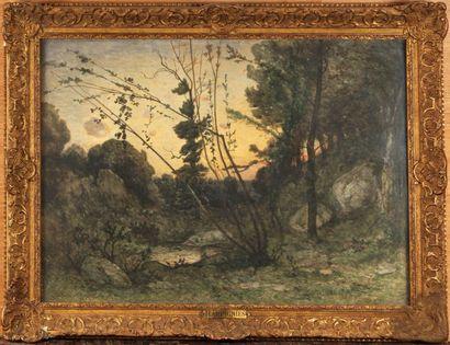 HENRI JOSEPH HARPIGNIES (1819-1916) Rivière...