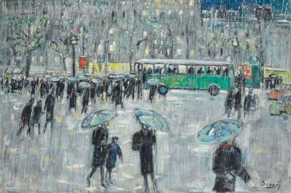 ROBERT SAVARY (1920-2000) L'arrêt de l'autobus...