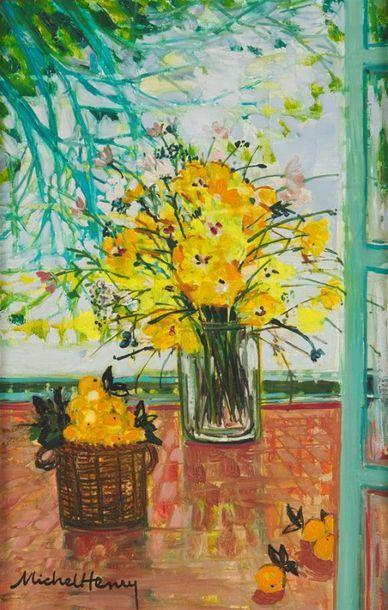 MICHEL HENRY (1928-2016) Vase aux fleurs...