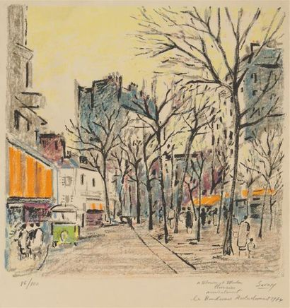 ROBERT SAVARY (1920-2000) Paris, boulevard...