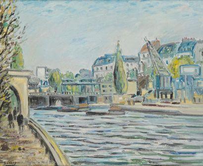 ROBERT SAVARY (1920-2000) Paris, le canal...