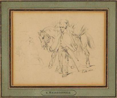 ERNEST MEISSONNIER (1815-1891) Hussard Mine de plomb, monogrammée EM et datée 1843...