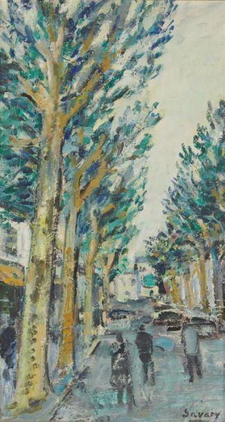 ROBERT SAVARY (1920-2000) Avenue bordée d'arbres...