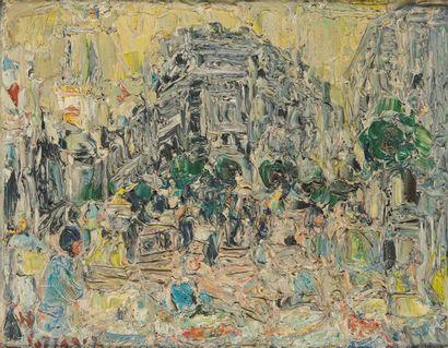 ANDRÉ COTTAVOZ (1922-2012) Paris, la fontaine...