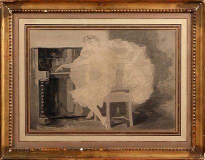 PAUL RENOUARD (1845-1924) Danseuse au piano et Exercice à deux Deux eaux-fortes,...