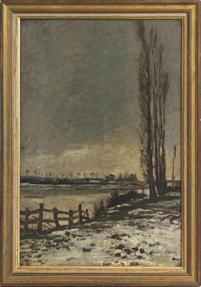 ÉCOLE MODERNE Berge aux peupliers en hiver...