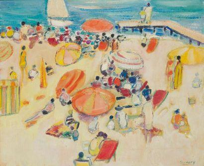 ROBERT SAVARY (1920-2000) Plage aux parasols...