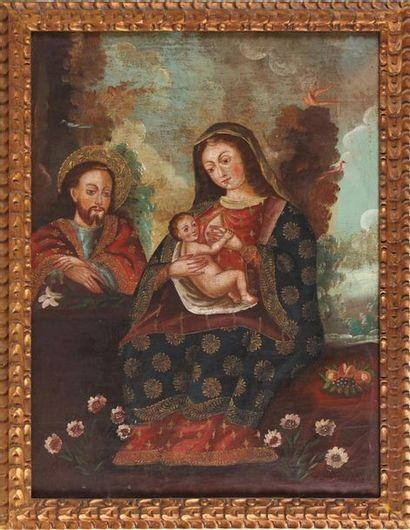 DANS LE GOÛT DE L'ÉCOLE DE CUZCO Sainte Famille...