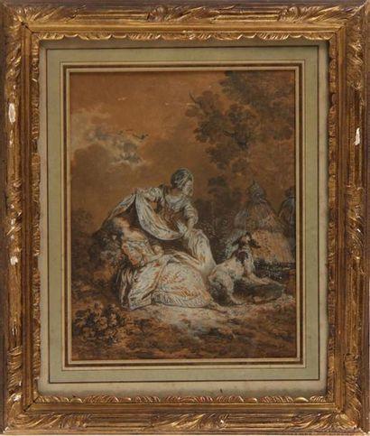 ÉCOLE FRANÇAISE DE LA FIN DU XVIIIe SIÈCLE Scènes pastorales à l'agneau et au chien...