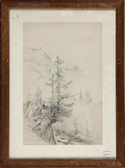 PIERRE THUILLIER (1799-1858) Paysage alpin animé Mine de plomb monogrammée, localisée...