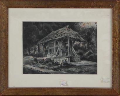 CÉLESTIN NANTEUIL (1813-1873) Le lavoir Encre,...