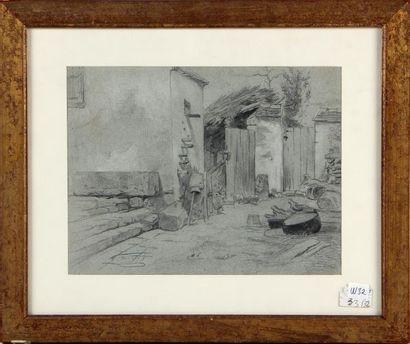 CÉLESTIN NANTEUIL (1813-1873) L'arrière cour Mine de plomb et rehauts de blanc sur...