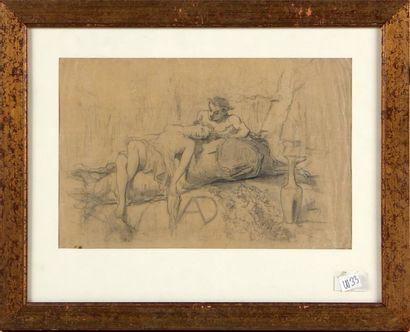 CÉLESTIN NANTEUIL (1813-1873) Faune et Nymphe...