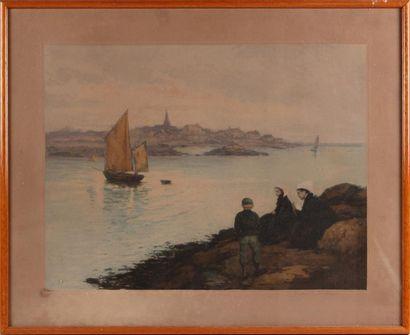 D'APRÈS MANUEL ROBBE (1872-1936) Bateau à...