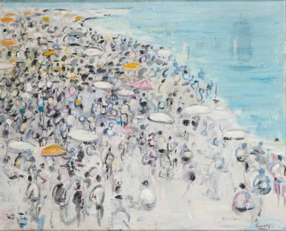 ROBERT SAVARY (1920-2000) La plage Huile...