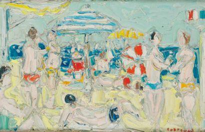 ANDRÉ COTTAVOZ (1922-2012) Baigneurs à Deauville...
