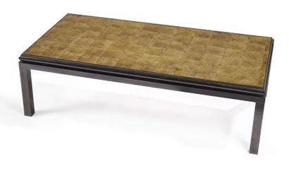 TABLE BASSE rectangulaire en métal patiné...