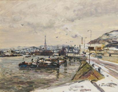 GASTON SÉBIRE (1920-2001) Port de Rouen sous...