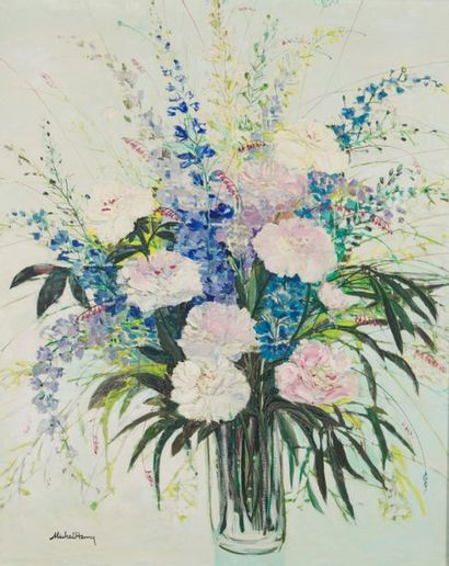 MICHEL HENRY (1928-2016) Vase aux pivoines...
