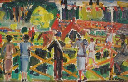 ROBERT SAVARY (1920-2000) Course hippique...
