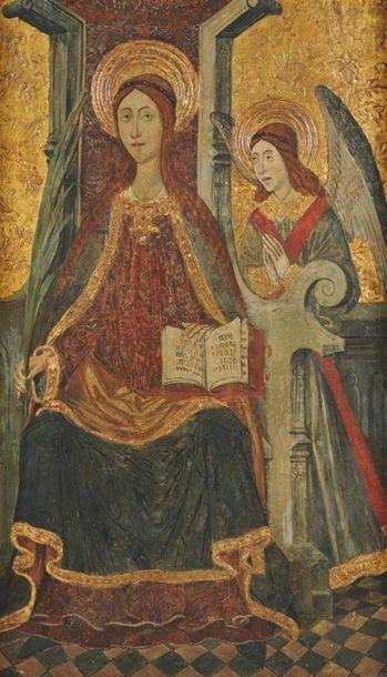 ÉCOLE CATALANE DU XVe SIÈCLE Vierge en trône...