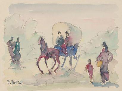 EMMANUEL BELLINI (1904-1989) Voiture à cheval...