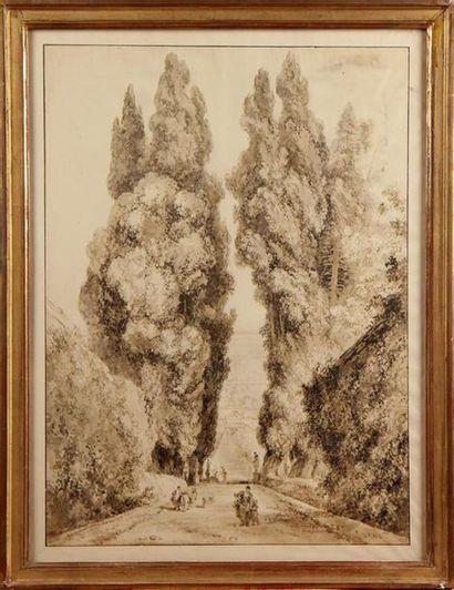 BIS. ÉCOLE FRANÇAISE VERS 1800 Allée arborée de la Villa d'Este à Tivoli Estampe...