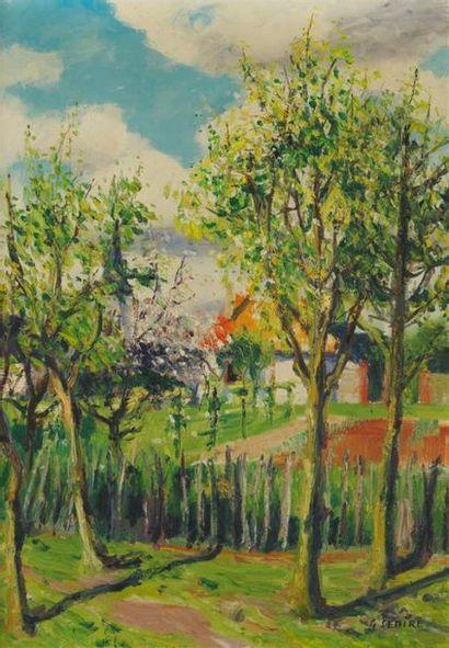 GASTON SÉBIRE (1920-2001) Maison normande...