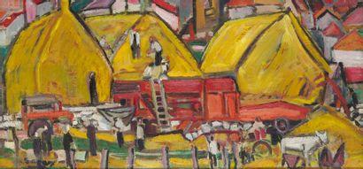 ROBERT SAVARY (1920-2000) Battage à la ferme...